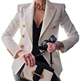 Tidecc Womens Double Breasted Slim Fitted Blazer Jacket Suits Tailored Work Office Blazer Coat 7...