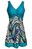 Ecupper Womens One Piece Swimsuit Plus Size Swimwear Floral Printed Swimming Costume with Skirt...