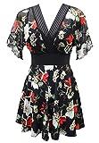 Ecupper Women's Short Sleeve Swim Dress Floral Printed Swimwear One Piece Swimsuit with Underwire...