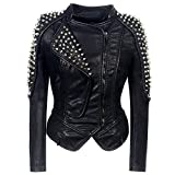 Womens Leather Jacket Zip Up Coat Biker Jacket Punk Coat Shoulder Pad Blazer Cardigan Short Jackets...