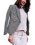 Letuwj Women Solid Color Pocket Buttons Causal Petite Blazers White+Black Check S