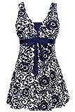 AMAGGIGO Women's Polka Dot One Piece Swimsuit Tummy Control Swimwear Swimdress with Skirt(FBA), Dark...